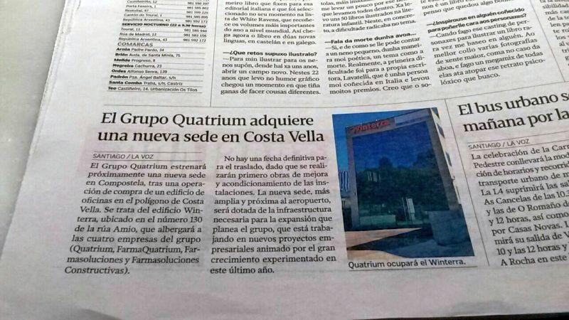Grupo Quatrium en La voz de Galicia