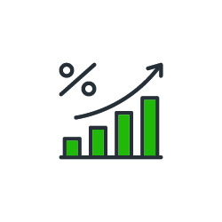 Percent Growing Graph outline icon