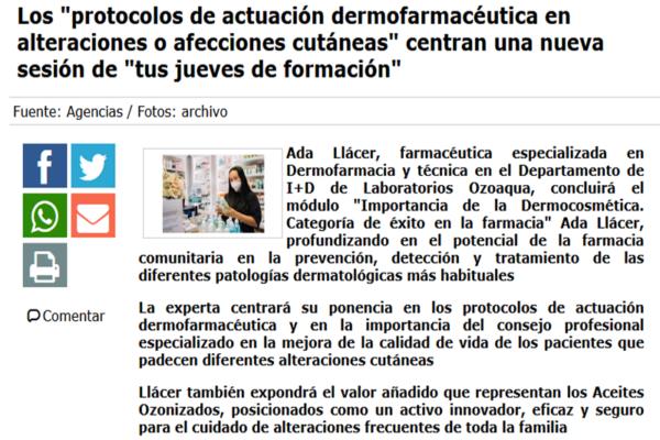 Los «protocolos de actuación dermofarmacéutica en alteraciones o afecciones cutáneas» centran una nueva sesión de «tus jueves de formación»